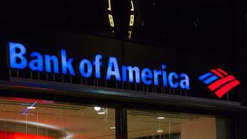 Night view of logo of the Bank of America Tower. It is an